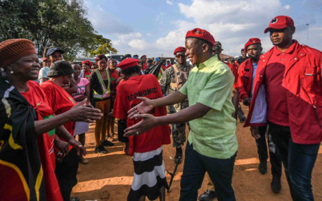 FILE: EFF leader Julius Malema greets Coligny residents on 2 May 2018. Picture: @EFFSouthAfrica/Twitter.