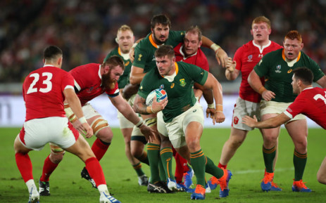 South Africa take the ball into Wales' territory during their 2019 Rugby World Cup semifinal match in Yokohama, Japan on 27 October 2019. Picture: @rugbyworldcup/Twitter