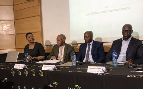 The SABC at a briefing on 5 August 2019 outlining the findings of a report into editorial interference at the public broadcaster. (From L -R) SABC group executive: news and current affairs Phathiswa Magopeni, Dr Joe Thloloe, SABC board chairperson Bongumusa Makhathini, and SABC CEO Madoda Mxakwe. Picture: Thando Kubheka/EWN