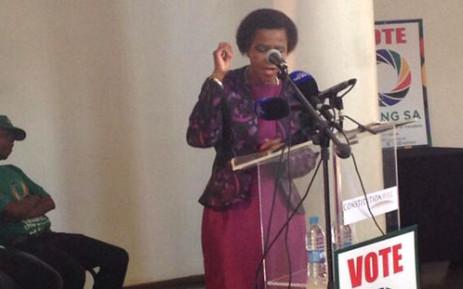 Mamphela Ramphela addressing Agang SA members at the Constitutional Hill in Johannesburg on Sunday 23 February 2014. Picture: Thando Kubheka/EWN.
