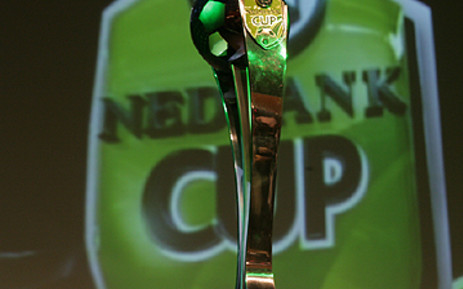 The Nedbank Cup is displayed at the draw for the last 16 in Johannesburg. Picture: Taurai Maduna/Eyewitness News