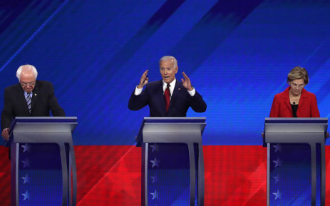 FILE: Democratic presidential candidates Sen. Bernie Sanders (I-VT), former Vice President Joe Biden, and Sen. Elizabeth Warren (D-MA) on stage during the Democratic Presidential Debate at Texas Southern University's Health and PE Center on 12 September 2019 in Houston, Texas. Picture: AFP
