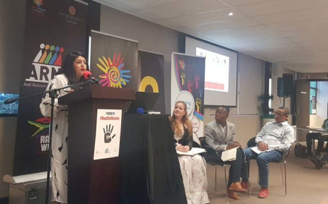 H&M country manager Oldouz Mirzaie speaks at the Anti-Racism Network conference in Auckland Park on 1 November 2018. Picture: @zaakirahvadi/Twitter