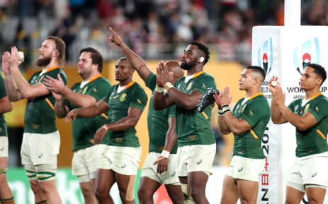 The Springboks acknowledge the crowd after a Rugby World Cup match. Picture: @Springboks/Twitter