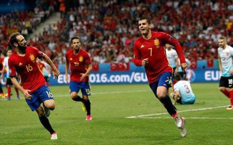 Spain forward Alvaro Morata celebrates his goal against Turkey in the Euro 2016 Group D on 17 June 2016. Picture: Facebook.