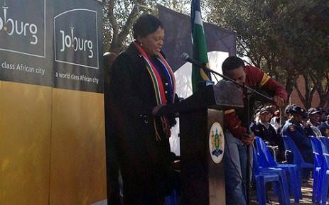 Gauteng Premier Nomvula Mokonyane spoke at a gathering which honoured fallen heroes of the 1976 Soweto uprising on 16 June 2012. Jacob Moshokoa/EWN