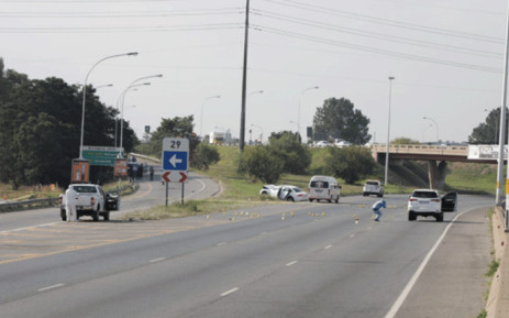A group of 10 gunmen carried out a robbery on the M1 North highway near Woodmead on 21 April 2021, which led to a shootout with police. Picture: Boikhutso Ntsoko/Eyewitness News.