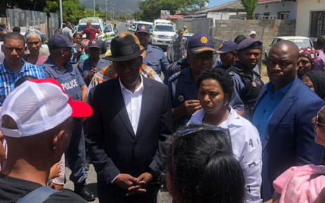Police Minister Bheki Cele visits Bokmakierie in Athlone on 15 January 2019 where 6-year-old Brionay Daniels was caught in gang crossfire. Picture: @SAPoliceService/Twitter