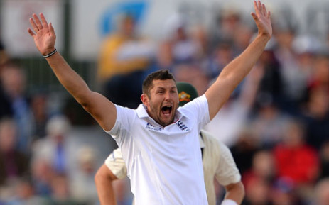 England's Tim Bresnan celebrates after claiming the wicket during the fourth day of the fourth Ashes cricket test match between England and Australia at the Durham cricket ground in Durham, north-east England, on August 12, 2013. Picture: AFP