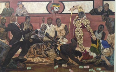 Ayanda Mabulu's Yakhal'inkomo, which has been removed from display at the FNB Joburg Art Fair 2013. Picture: City Press