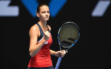 Czech Republic's Karolina Pliskova reacts after a point against Spain's Sara Sorribes Tormo during their women's singles match on day two of the Australian Open tennis tournament in Melbourne on January 17, 2017. Picture: AFP