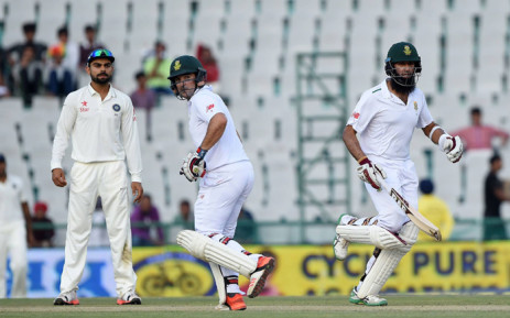 FILE: Proteas' batman hashim Amla, makes a run during the opening day of the first test on 5 November 2015. Picture: CSA Facebook.