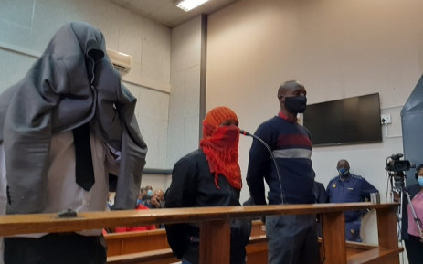 Scorpion Ndyalvane, Caylene Whiteboy and Voster Netshiongolo on 22 September 2020 made a brief appearance at the Protea Magistrates Court for the alleged murder of 16-year-old Eldorado Park teenager, Nathaniel Julies. Picture: Kgomotso Modise/EWN