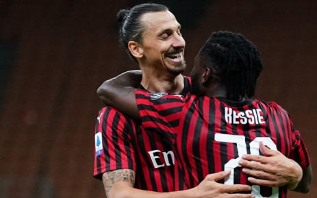 AC Milan's Zlatan Ibrahimovic and Franck Kessie celebrate a goal. Picture: @acmilan/Twitter