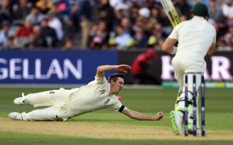 Craig Overton misses a catch during England's second day of the first Ashes day-night Test against Australia. Picture: @englandcricket/Twitter.