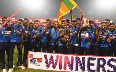Sri Lanka celebrate their T20 series victory over Pakistan in Lahore on 9 October 2019. Picture: @OfficialSLC/Twitter