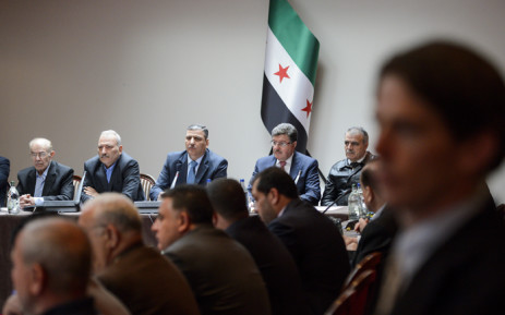 Syrian opposition body (HCN) members: Syrian Chairman of the National Coordination Committee for the Forces of Democratic Change Hassan Abdel Azim, member of the Syrian National Coalition and the National Coordination Body Safwan Akkash, Head of the High Negotiation Committee (HNC) Riad Hijab, HNC spokesman Salem al-Meslet and HCN delegation head Asaad al-Zoabi attend a meeting of the HNC delegation on the sideline of Syrian Peace Talks on 18 April, 2016 in Geneva. Picture: AFP.