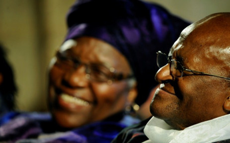 FILE: Archbishop Emeritus Desmond Tutu and his wife Leah during the launch of Tutu's authorised biography in 2011 at St George's Cathedral, in Cape Town. Picture: AFP.