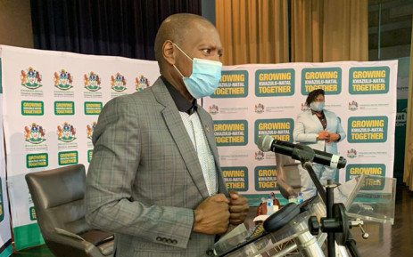 Health Minister Zweli Mkhize delivered a speech at Grey's Hospital in Pietermaritzburg where the country's first COVID-19 patient was treated. Picture: @DrZweliMkhize/Twitter