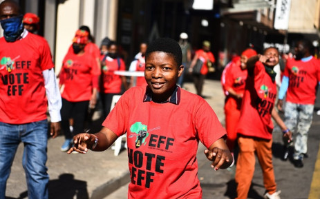 Economic Freedom Fighters supporters at Gandhi Square in Johannesburg for the party's manifesto launch. Picture: @EFFSouthAfrica/Twitter.