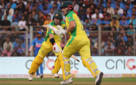 Australia's David Warner and Aaron Finch take a run during the first ODI against India in Mumbai on 14 January 2020. Picture: @cricketcomau/Twitter