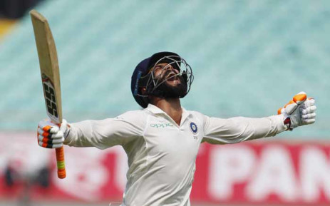 India Ravindra Jadeja reacts after smashing his maiden international century in the first Test against West Indies. Picture: @BCCI/Twitter