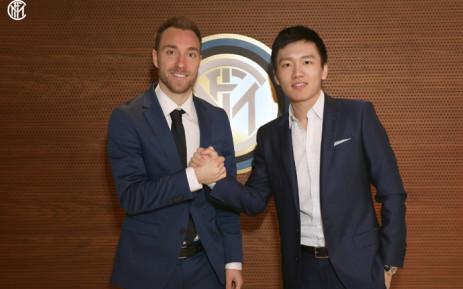 Danish international midfielder Christian Eriksen (L) and Inter president Steven Zhang (R). Picture: @Inter_en/Twitter