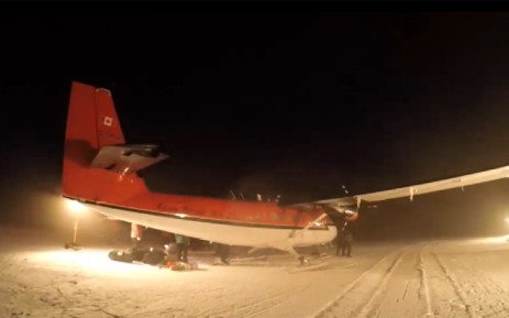 A Canadian-owned Twin Otter turboprop plane landed in Punta Arenas, Chile Wednesday evening, completing its South Pole rescue mission. Picture: Screengrab
