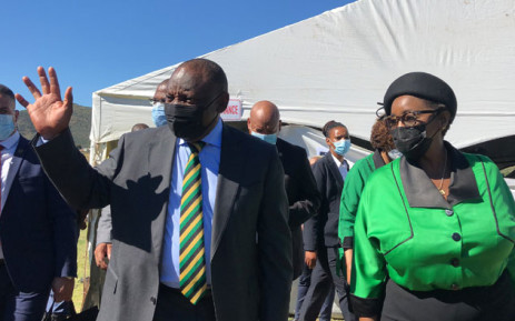 ANC president Cyril Ramaphosa (left) with ANC Women's League president, Bathabile Dlamini (right) at a party event commemorating the 150th birthday of Charlotte Maxeke in eGqudesi in the Eastern Cape on 7 April 2021. Picture: @MYANC/Twitter