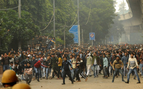 Students of Jamia Millia Islamia University stage a protest against the government's Citizenship Amendment Bill (CAB) in New Delhi on 13 December 2019. Picture: AFP