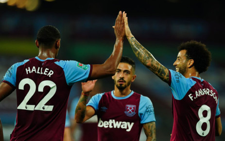 West Ham's Sebastien Haller celebrates a goal with teammates during their English League Cup match against Charlton on 15 September 2020. Picture: @WestHam/Twitter