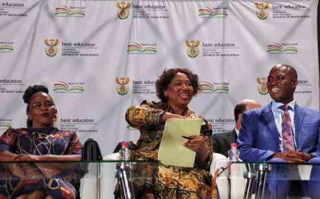Basic Education Minister Angie Motshekga (centre) briefing the country on the pass rate for the matric class of 2019 on 7 January 2020. Picture: Kayleen Morgan/EWN