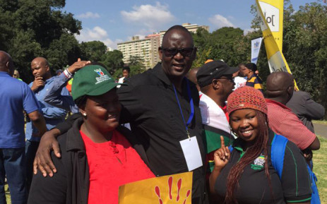 Zwelinzima Vavi with some of the people who took part in the anti-xenophobia march in Johannesburg on 23 April 2015. Picture: Emily Corke/EWN.