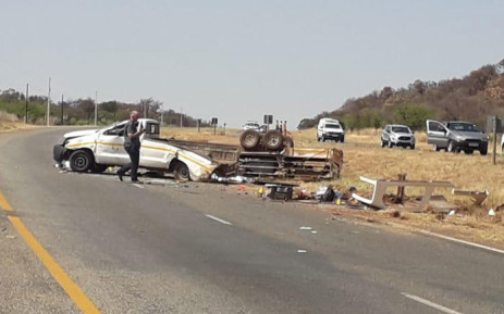 Four people were killed after the bakkie they were travelling in overturned along the R500 outside Fochville on 19 September 2019. Picture: @ER24EMS/Twitter