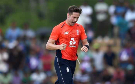 England's Chris Woakes celebrates taking a wicket against Sri Lanka during their second one-day international. Picture: @englandcricket/Twitter.