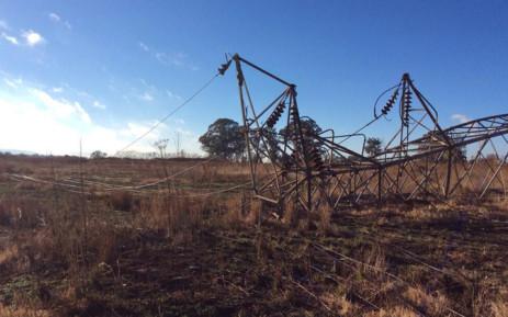 FILE: Broken pylons in Lenasia where power cables were stolen. Picture: Faizel Patel via Twitter.