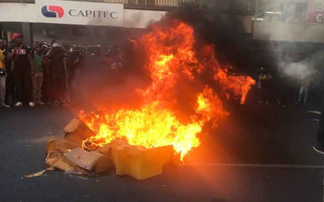 Protesting Tshwane University of Technology students gathered outside Bheki Cele's offices in Pretoria demanding to be addressed by the Police Minister. Picture: Thando Kubheka/EWN