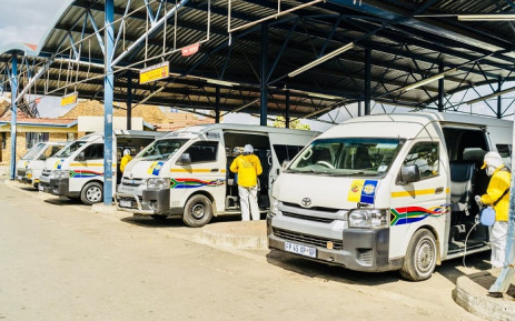 Taxis at a Gauteng taxi rank being disinfected as part of measures to protect public transport commuters from contracting COVID-19. Picture: @vm_africa/Twitter