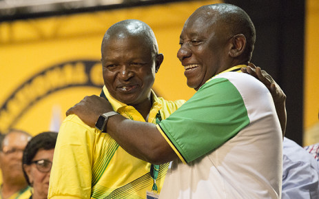 Newly elected ANC deputy president David Mabuza (left) and new party leader Cyril Ramaphosa (right) on 18 December 2017. Picture: Sethembiso Zulu/EWN