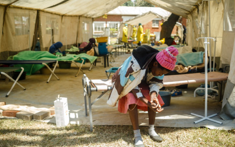 A patient inside a cholera treatment tent at the Beatrice Infectious Diseases Hospital in Harare on 11 September 2018. Picture: AFP.
