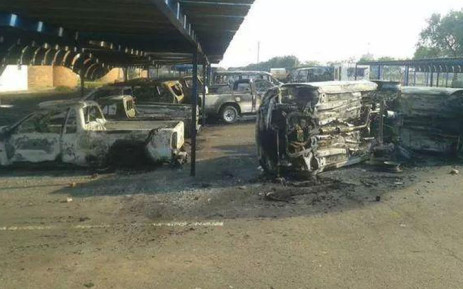 Eighteen cars belonging to the Tshwane University of Technology were torched allegedly by protesting students on 19 September 2014. Picture: Twitter.