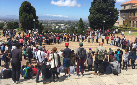 Protesting UCT on the Jammie plaza. Picture: Natalie Malgas/EWN.