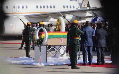 The coffin of former Zimbabwean President Robert Mugabe at the Robert Gabriel Mugabe International Airport in Harare on 11 September 2019. Picture: Thomas Holder/EWN.