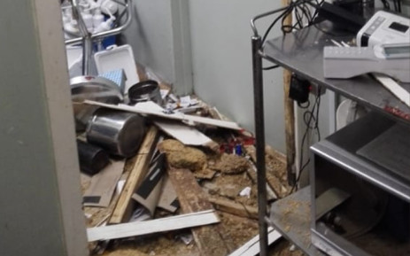 A man was attacked outside Dr Yusuf Dadoo Hospital in Krugersdorp on 17 March 2019 by a mob of young people. The group of about 30 armed people stormed the entrance and overpowered security, and damaged hospital equipment in the process. Picture: Supplied