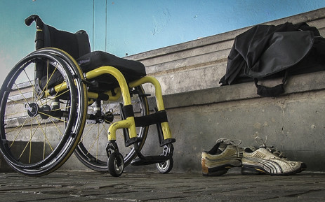 The wheelchair and sports gear of quadriplegic athlete Pieter du Preez stand next to the swimming pool during one of his training sessions. Picture: Reinart Toerien/EWN