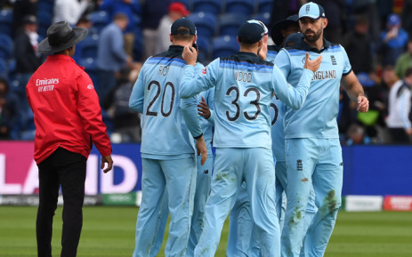 England players (2L/R)L Jason Roy, Mark Wood and Liam Plunkett celebrate after the 2019 Cricket World Cup group stage match between England and Bangladesh at Sophia Gardens stadium in Cardiff, south Wales, on 8 June 2019, as England beat Bangladesh by 106 runs. Picture: AFP