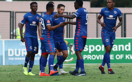 SuperSport United players celebrate a goal. Picture: @SuperSportFC/Twitter