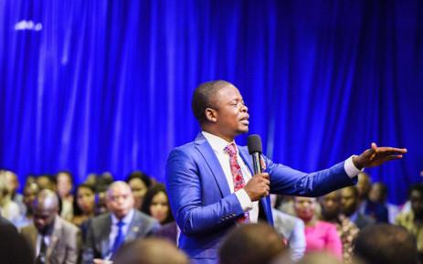 FILE: Prophet Bushiri addresses his congregates during a church service. Picture: @shepherdbushiriministries/Facebook.com