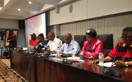 Cosatu leadership at a press conference at Cosatu House in Johannesburg on 11 November 2014. Picture: Reinart Toerein/EWN.