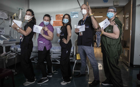 Healthcare workers at Steve Biko Hospital after receiving the COVID-19 vaccine on 17 February 2021. Picture: Abigail Javier/EWN